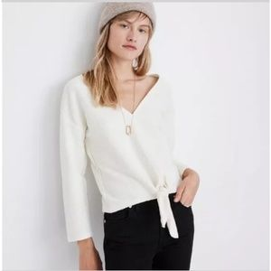 Madewell  White Crop Top Tie Front V-Neck Top M